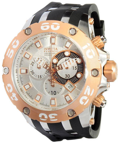 Invicta 0911 Men's Swiss Made Silver Dial Chronograph Dive Watch