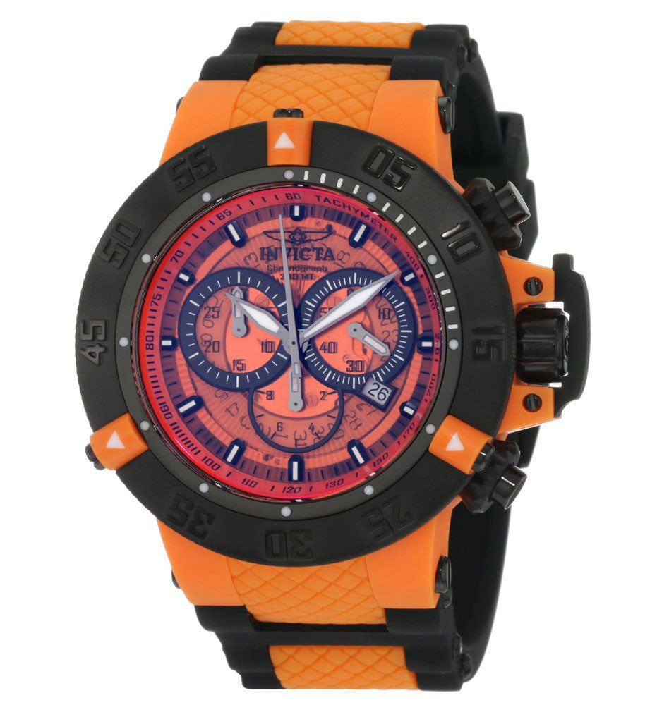 Invicta 0936 Men's Subaqua NOMA Black Ion Plated Orange Plastic Chronograph Dive Watch