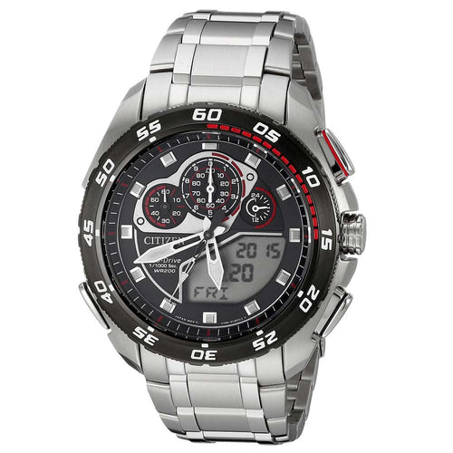 Citizen JW0111-55E Men's Promaster Super Sport Red Accented Ana-Digi Black Dial Chrono Dive Watch