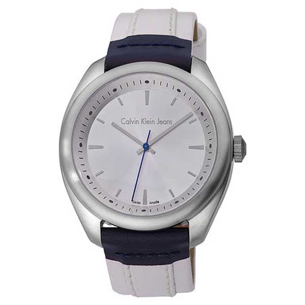 Calvin Klein K5811138 Men's Jeans Impulse Silver Dial White Leather Strap Watch