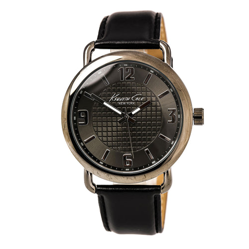 Kenneth Cole KC10021748 Men's Classic Grey Dial Black Leather Strap Watch