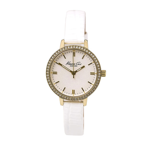 Kenneth Cole KC2559 Women's Crystal Yellow Gold Steel White Dial Leather Strap Watch