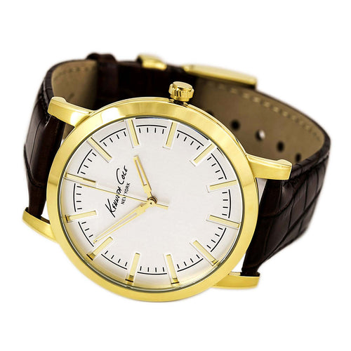 Kenneth Cole KC8043 Men's Classic Brown Leather Strap Yellow Gold Steel Silver Dial Watch