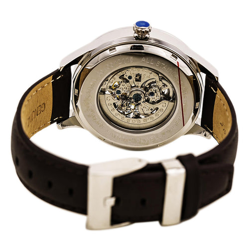Kenneth Cole KC8079 Men's Brown & Silver Skeleton Dial Brown Leather Strap Watch