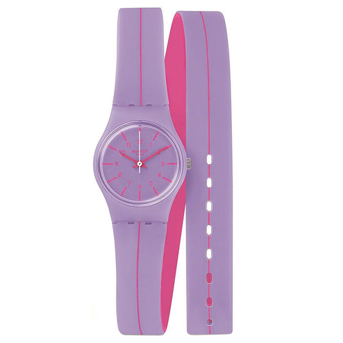 Swatch LV118 Women's Segue A Linha Purple Dial Purple & Pink Silicone Strap Watch