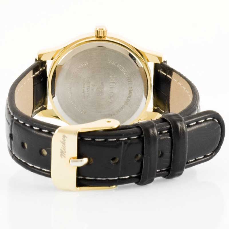 Disney MCK615 Women's Mickey Mouse Gold Tone Black Leather Strap Quartz Watch