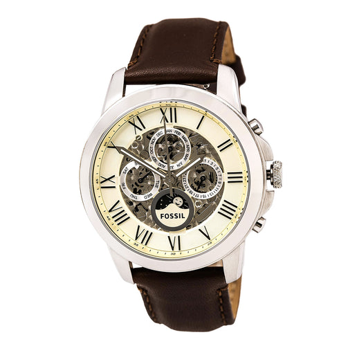Fossil ME3027 Men's Grant Automatic Cream & Silver Semi-Skeleton Dial Brown Leather Strap Watch
