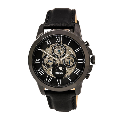 Fossil ME3028 Men's Grant Automatic Black & Silver Semi-Skeleton Dial Black Leather Strap Watch