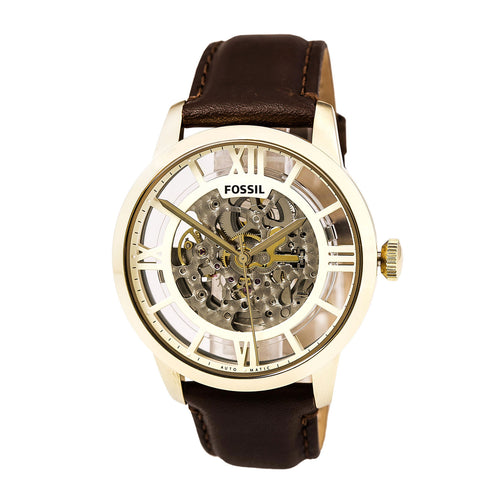 Fossil ME3043 Men's Townsman Automatic Transparent Silver Skeleton Dial Brown Leather Strap Watch