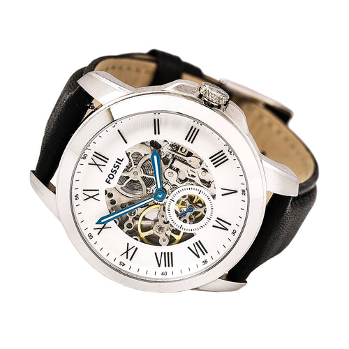 Fossil ME3053 Men's Grant White & Silver Semi-Skeleton Dial Black Leather Strap Automatic Watch