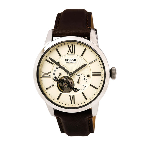 Fossil ME3064 Men's Townsman Automatic Cream Semi-Skeleton Dial Brown Leather Strap Watch