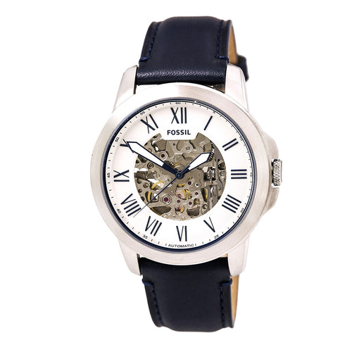 Fossil ME3111 Men's Grant Silver Semi-Skeleton Dial Navy Blue Leather Strap Automatic Watch