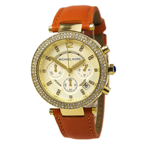 Michael Kors MK2279 Women's Parker Chronograph Gold Dial Orange Leather Strap Watch
