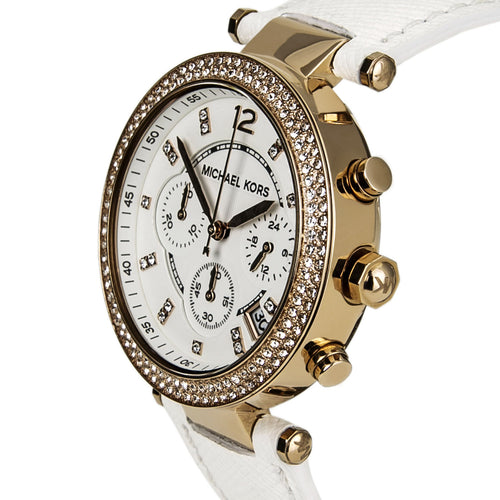 Michael Kors MK2281 Women's Parker White Dial White Leather Strap Chronograph Glitz Watch