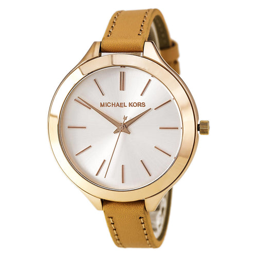 Michael Kors MK2284 Women's Slim Runway White Dial Rose Gold Steel Beige Leather Strap Watch