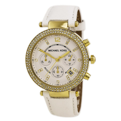 Michael Kors MK2290 Women's Parker Mid-Size White Dial White Leather Strap Chrono Crystal Watch