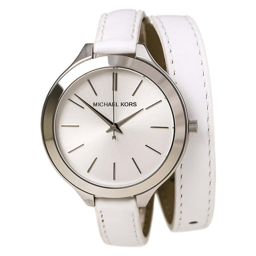 Michael Kors MK2325 Women's Slim Runway Silver Dial Double Wrap White Leather Strap Watch