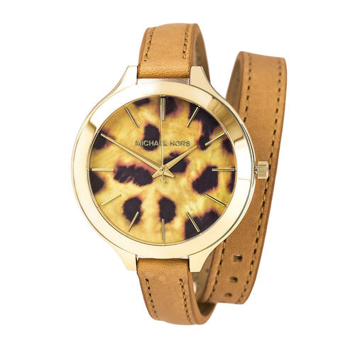 Michael Kors MK2327 Women's Slim Runway Brown & Black Cheetah Dial Brown Leather Wrap Strap Watch