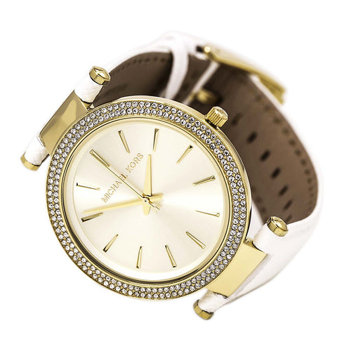 Michael Kors MK2391 Women's Darci Crystal Accented Bezel Gold Tone Dial White Strap Watch