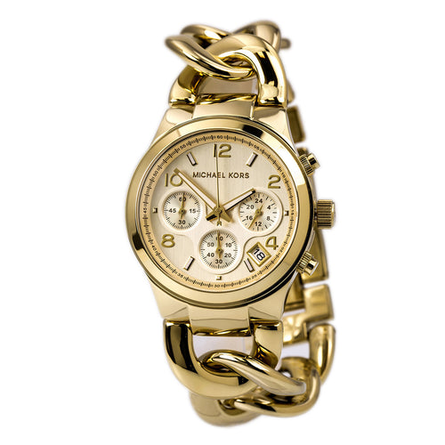Michael Kors MK3131 Women's Runway Twist Gold Tone Steel Bracelet Chrono Watch