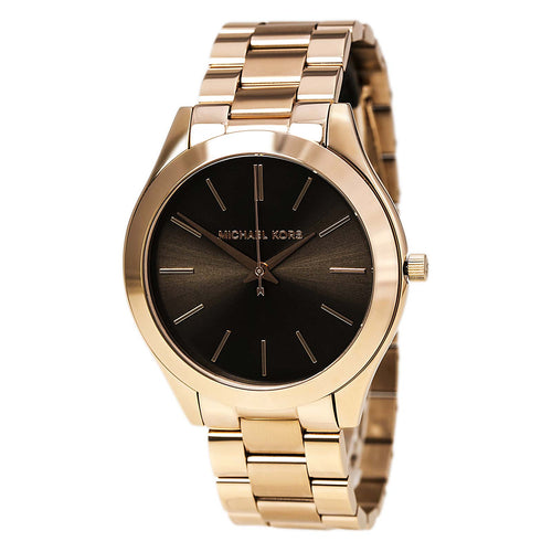 Michael Kors MK3181 Women's Slim Runway Brown Dial Rose Gold IP Steel Bracelet Watch