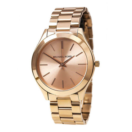 Michael Kors MK3197 Women's Slim Runway Mid-Size Rose Golden Stainless Steel Watch