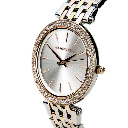 Michael Kors MK3203 Women's Darci Silver Dial Three Tone Steel Bracelet Watch