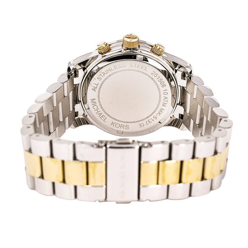 Michael Kors MK5137 Women's Runway Gold Dial Two Tone Steel Chronograph Watch