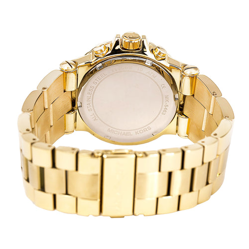 Michael Kors MK5463 Unisex Dylan Gold Tone Dial Yellow Gold Plated Aluminum Bracelet Chronograph Watch