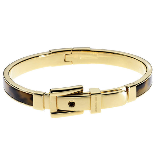 Michael Kors MKJ1674710 Women's Bedford Gold Tone IP Steel Tortoise Acetate Buckle Bangle Bracelet