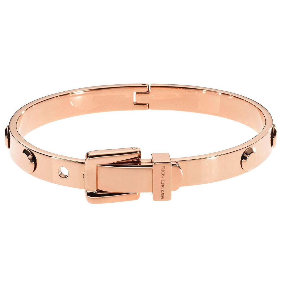 Michael Kors MKJ1821791 Women's Astor Rose Gold IP Steel Buckle Bangle Bracelet