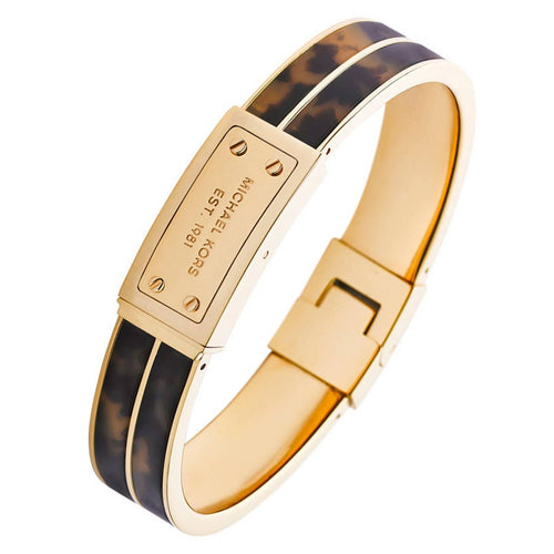 Michael Kors MKJ2247710 Women's Logo Plaque Gold Tone IP Steel Tortoise Acetate Hinge Bangle Bracelet