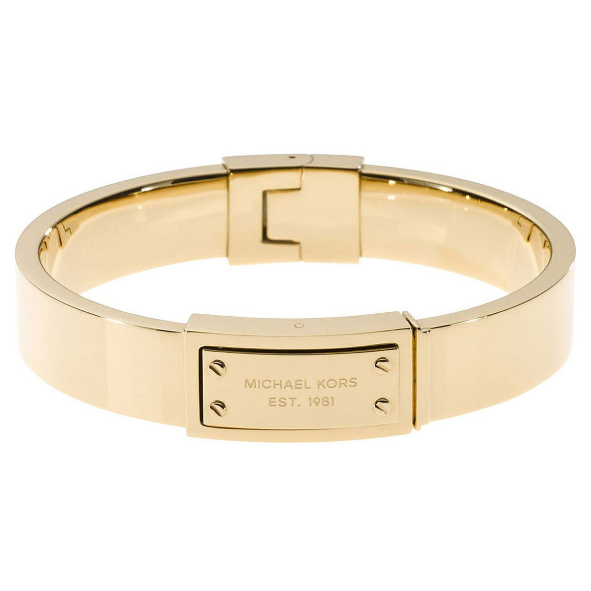 Michael Kors MKJ2351710 Women's Logo Plaque Gold Tone IP Steel Hinge Bangle Bracelet
