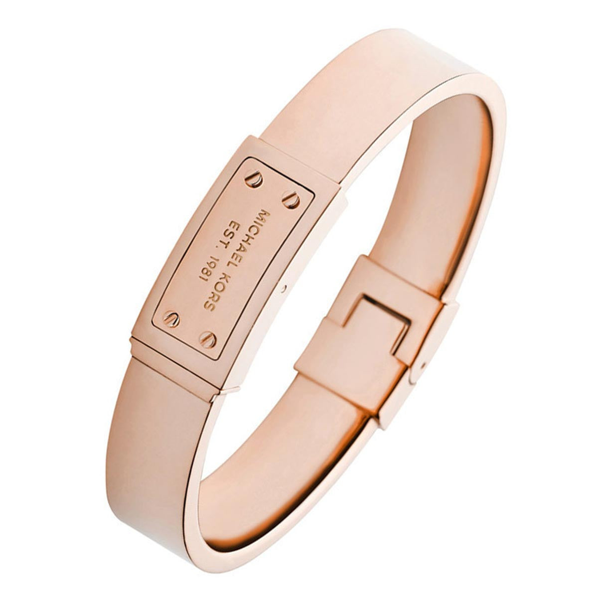 Michael Kors MKJ2401791 Women's Logo Plaque Rose Gold IP Steel Hinge Bangle Bracelet