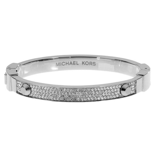Michael Kors MKJ2746040 Women's Astor Crystal Pave Silver Steel Bangle Bracelet