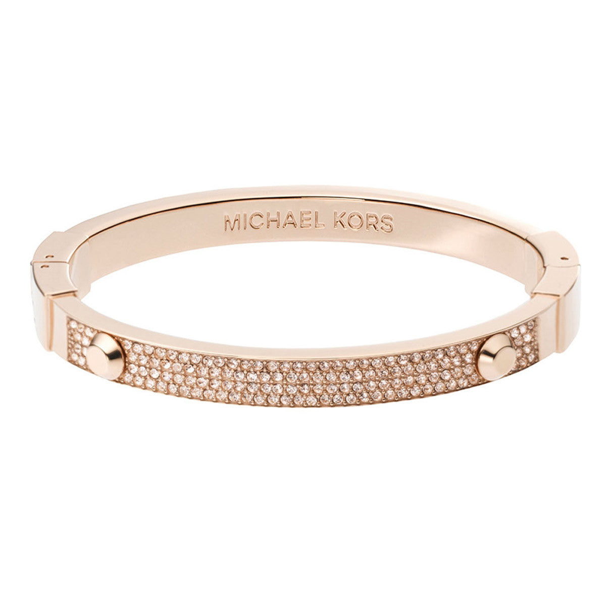Michael Kors MKJ2747791 Women's Astor Crystal Pave Rose Gold Steel Bangle Bracelet