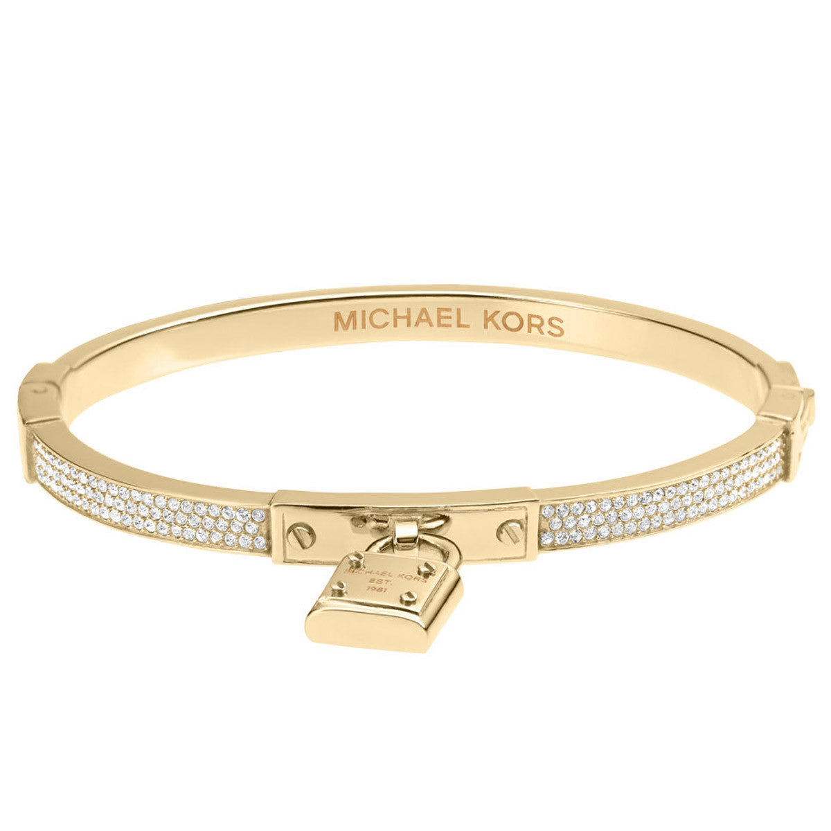 Michael Kors MKJ3018710 Women's Glitz Gold Tone Steel PadLock Bangle Bracelet
