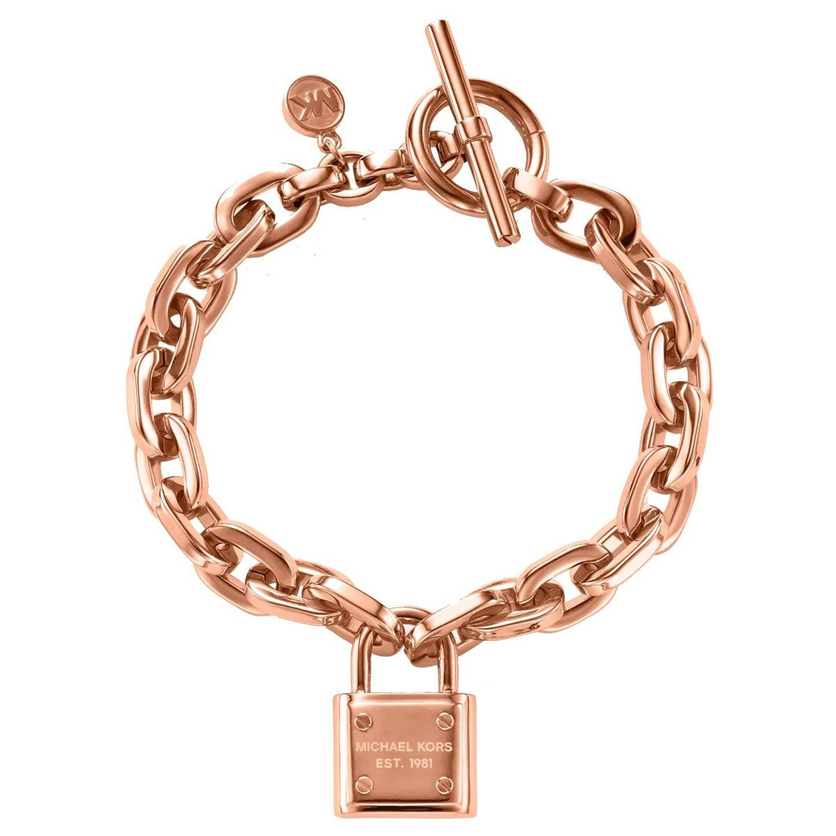 Michael Kors MKJ3313791 Women's PadLock Rose Gold Tone IP Steel Chain-Link Bracelet