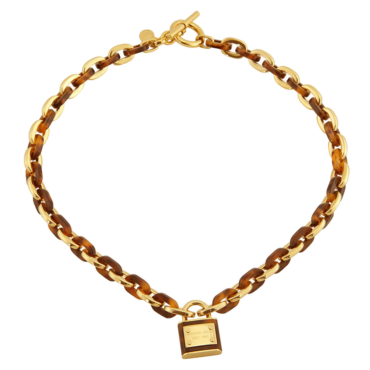 Michael Kors MKJ3488710 Women's Gold Tone Steel Tortoise Acetate Chain-Link Padlock Pendant Necklace