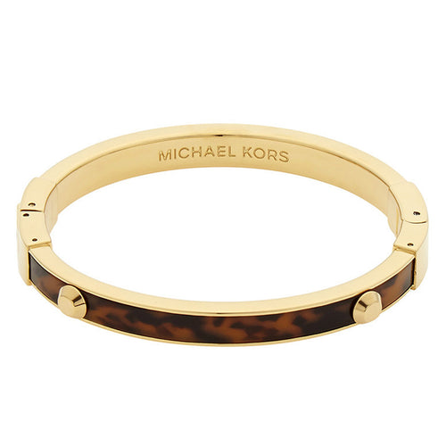 Michael Kors MKJ4126710 Women's Astor Gold Tone Steel Tortoise Acetate Hinge Bangle Bracelet