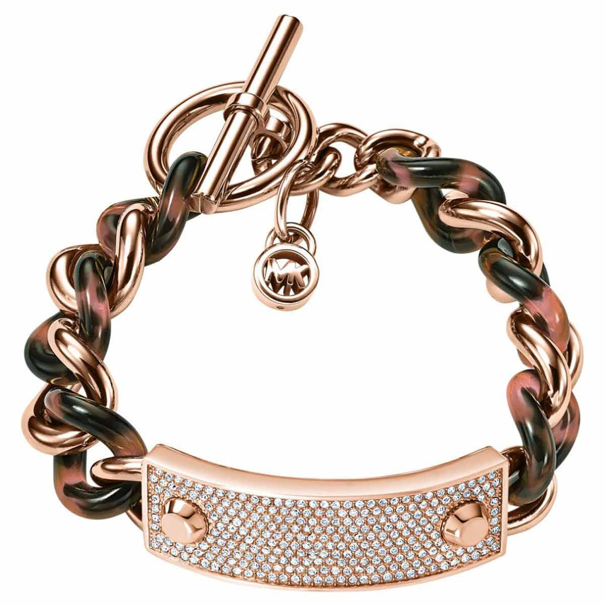 Michael Kors MKJ4322791 Women's Crystal Pave Rose Gold IP Steel Tortoise Acetate Chain-Link PadLock Bracelet