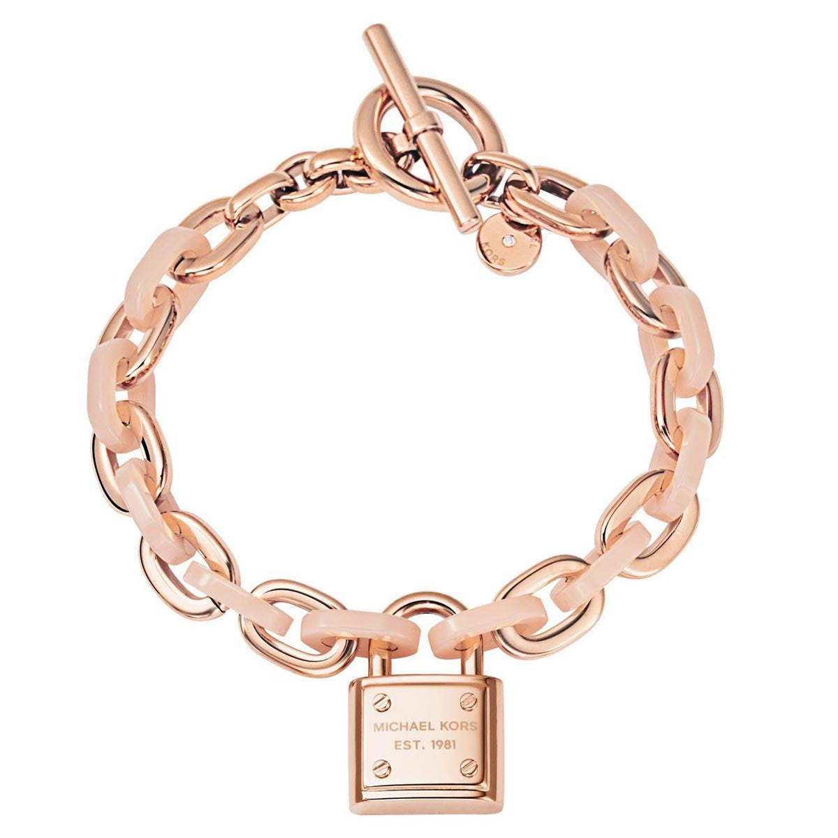 Michael Kors MKJ4326791 Women's Rose Gold IP Steel Pink Acetate Logo Chain-Link PadLock Bracelet