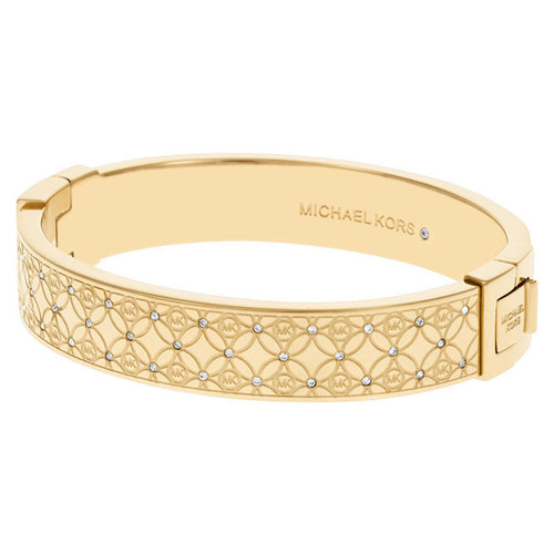 Michael Kors MKJ4471710 Women's Monogram Gold Tone Steel Crystal Bangle Bracelet