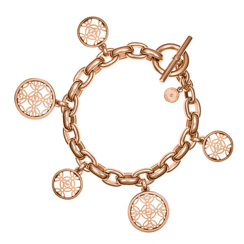 Michael Kors MKJ4474791 Women's Monogram Rose Gold Steel Disc Charm Bracelet
