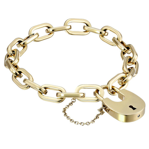 Michael Kors MKJ4627710 Women's Yellow Gold Steel Chain Link Padlock Bracelet