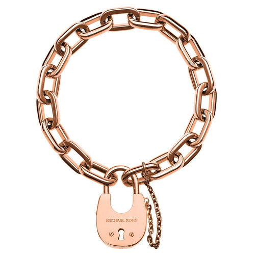 Michael Kors MKJ4629791 Women's Rose Gold Plated Steel Chain Link Padlock Bracelet