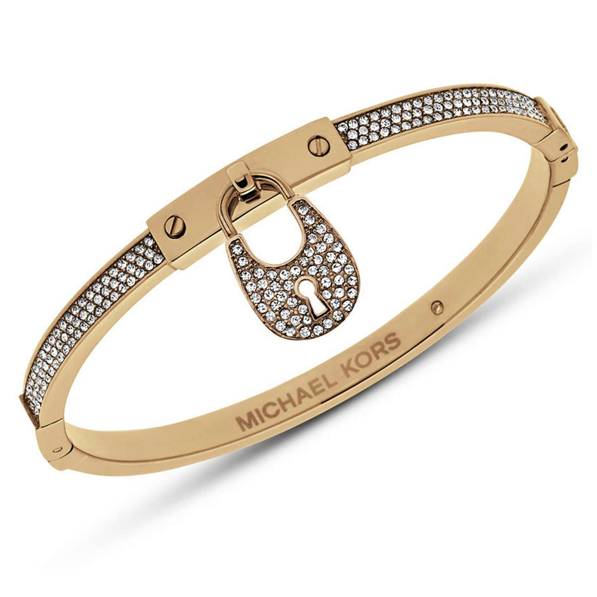 Michael Kors MKJ4883710 Women's Heritage Crystal Accented Yellow Gold Steel Padlock Bangle Bracelet