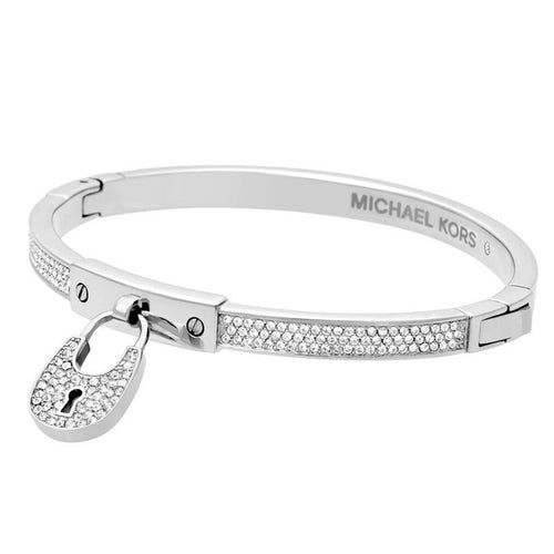 Michael Kors MKJ4884040 Women's Heritage Crystal Accented Stainless Steel Padlock Bangle Bracelet
