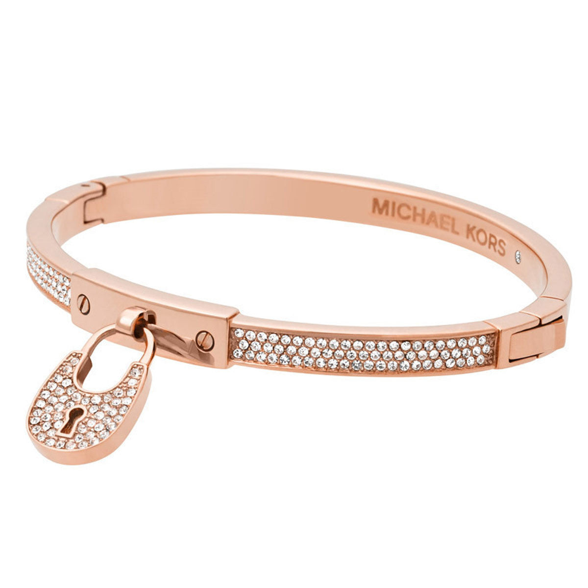 Michael Kors MKJ4885791 Women's Heritage Crystal Accented Rose Gold Steel Padlock Bangle Bracelet