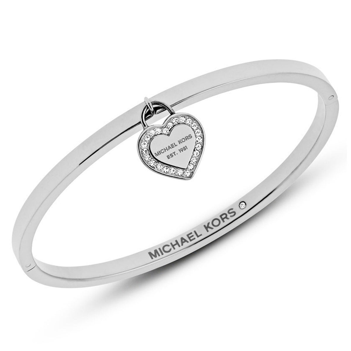 Michael Kors MKJ5038040 Women's Symbols Crystal Accented Stainless Steel Charm Bangle Bracelet